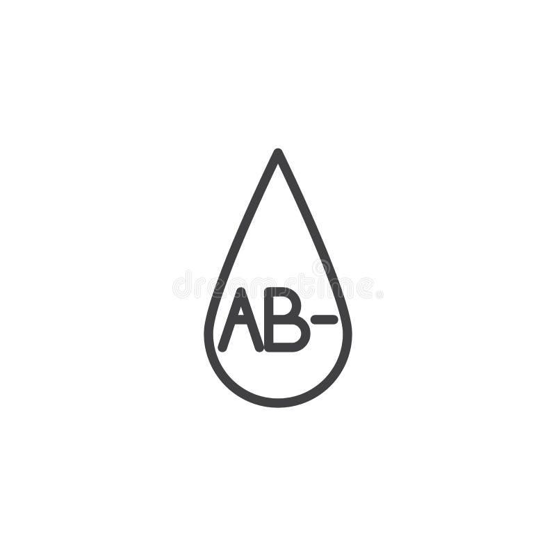 Tipo de sangre AB línea icono ilustración del vector