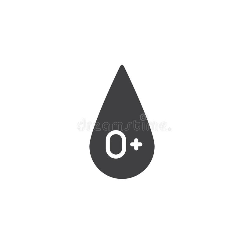 Tipo de sangue 0 mais o ?cone do vetor ilustração stock
