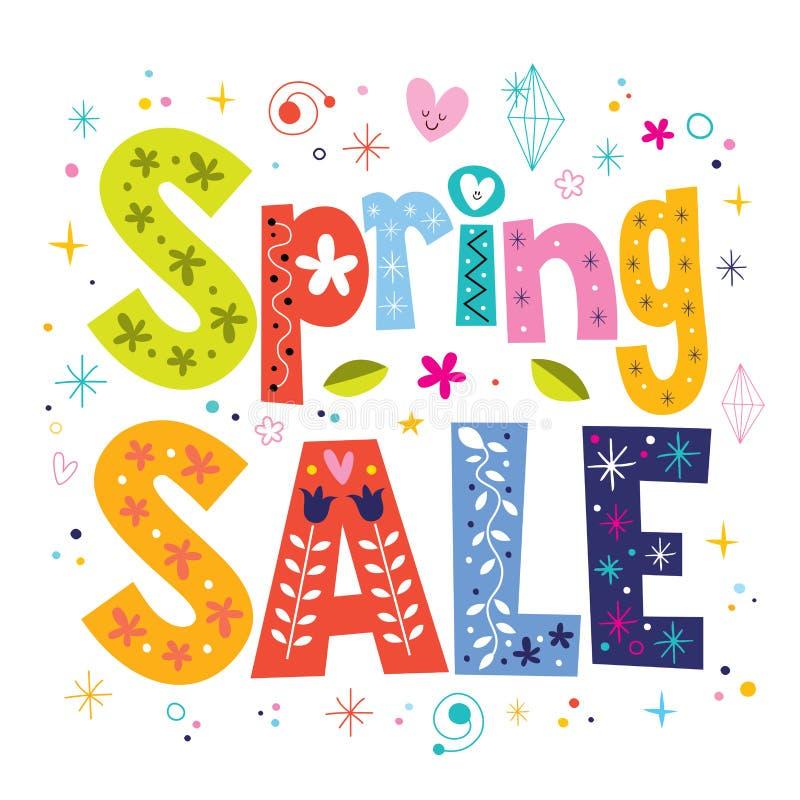 Tipo decorativo diseño de las letras de la venta de la primavera stock de ilustración