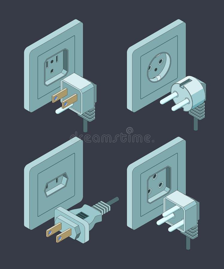 Tipo dei rifornimenti elettrici L'energia elettrica dell'isolamento della casa dell'interruttore del commutatore tappa le immagin illustrazione vettoriale
