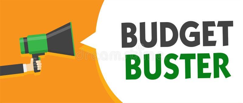 Tipo del presupuesto del texto de la escritura El concepto que significa el gasto despreocupado negocia las compras innecesarias  ilustración del vector