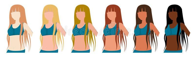 Tipo della pelle di Fitzpatrick, fototipi, ragazze, colore della carnagione abbronzatura royalty illustrazione gratis