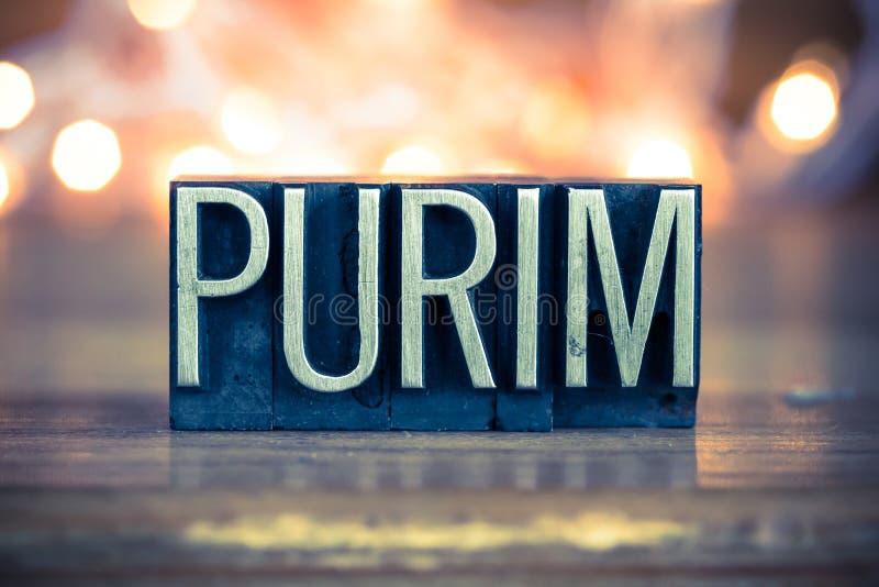 Tipo dello scritto tipografico del metallo di concetto di Purim fotografia stock libera da diritti