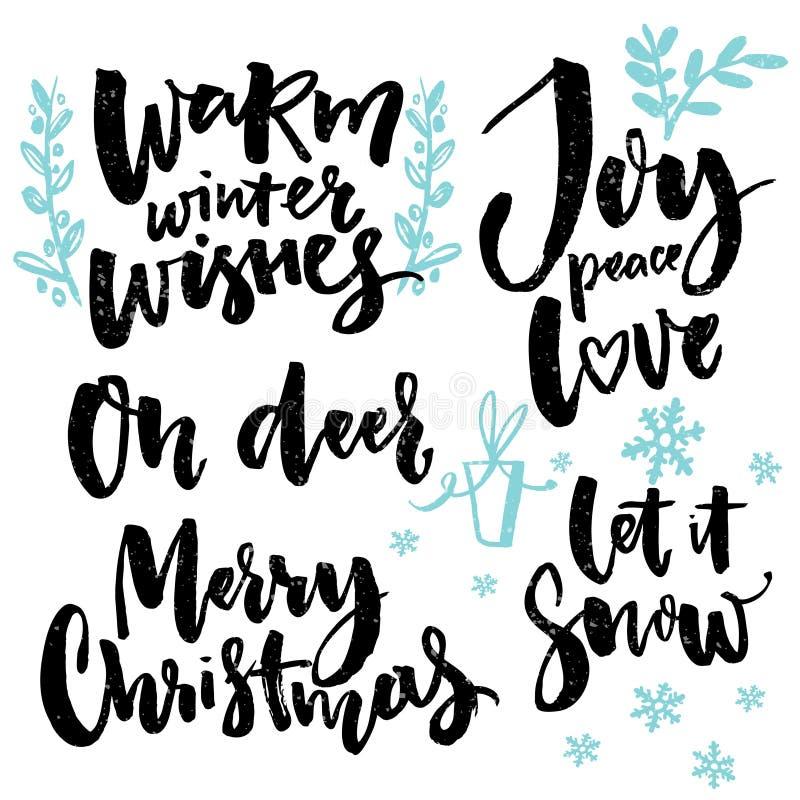 Tipo di Buon Natale e saluti stagionali Parole scritte a mano per i manifesti delle cartoline d'auguri e le etichette del regalo  royalty illustrazione gratis