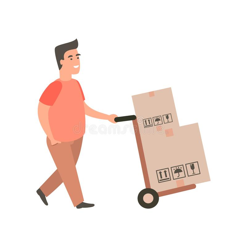 Tipo di consegna che spinge un carrello a mano con gli acquisti royalty illustrazione gratis