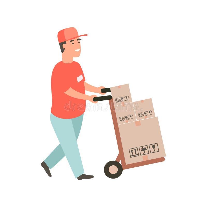Tipo di consegna che spinge un carrello a mano con gli acquisti illustrazione di stock