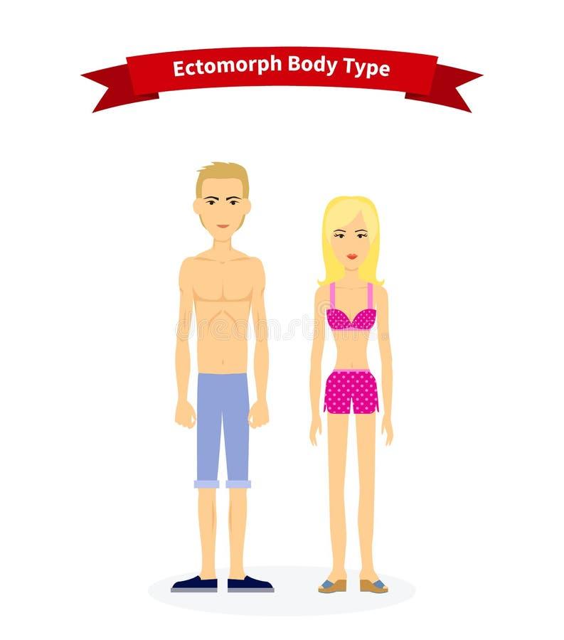 Tipo di corpo dell'ectomorfo donna ed uomo illustrazione di stock