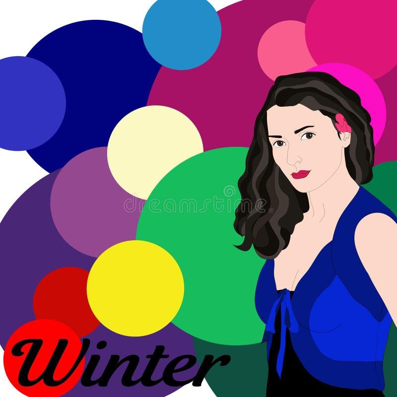Tipo di riserva di inverno di vettore di aspetto femminile Fronte di giovane donna royalty illustrazione gratis