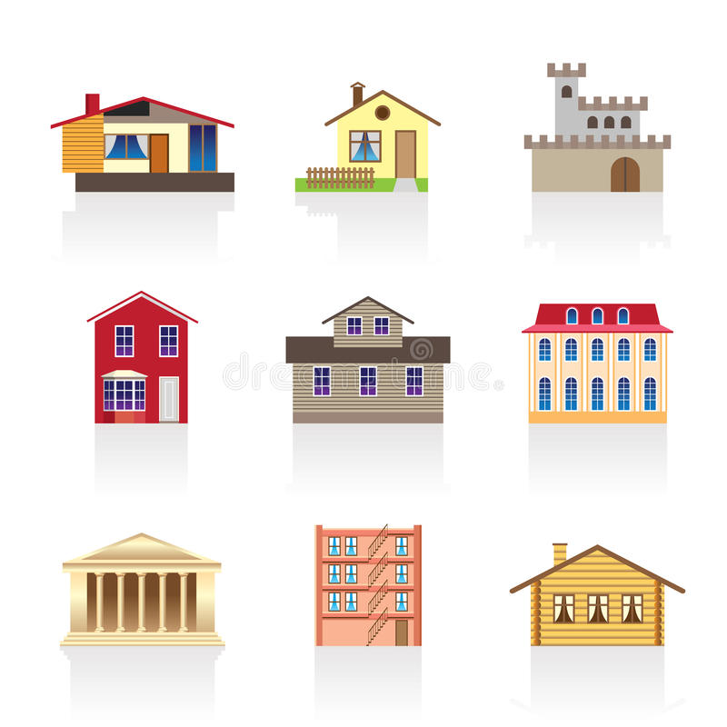 Tipo diferente das casas e dos edifícios 1 ilustração do vetor