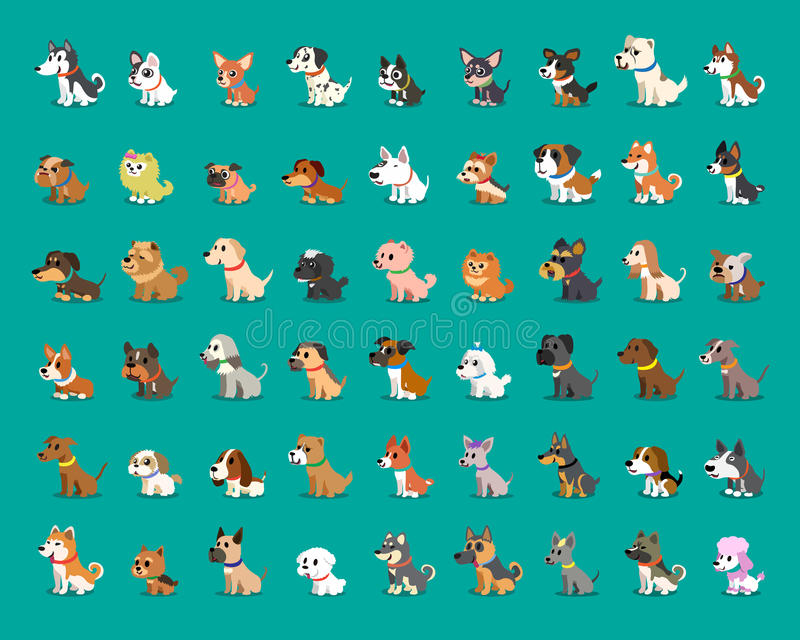 Tipo diferente de cães dos desenhos animados ilustração do vetor