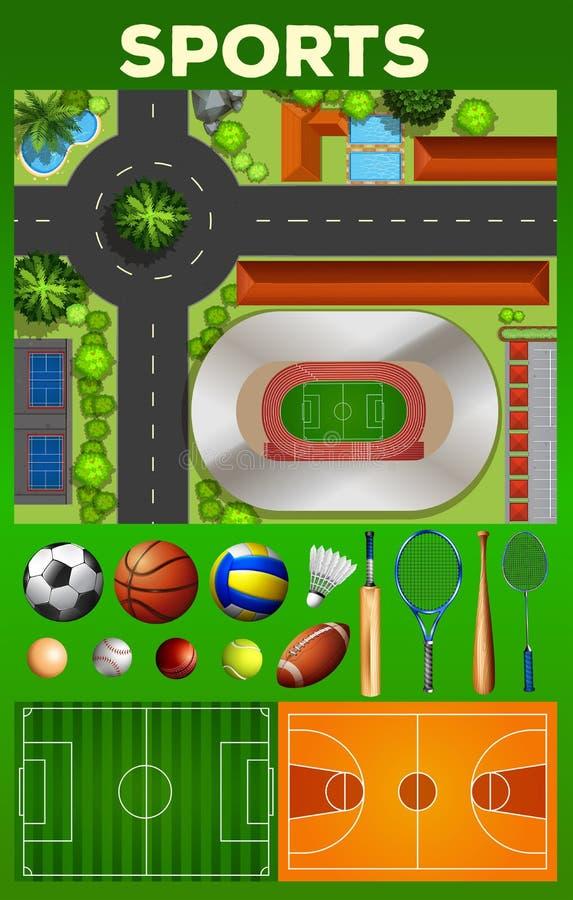 Tipo diferente de equipamentos e de cortes de esporte ilustração do vetor