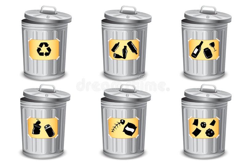 Tipo diferente escaninho de lixo ilustração stock