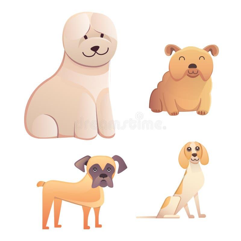 Tipo differente di cani del fumetto illustrazione stabilita di vettore del cane felice royalty illustrazione gratis