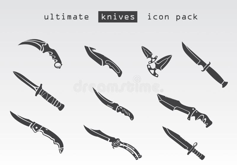 Tipo differente di coltelli fotografia stock