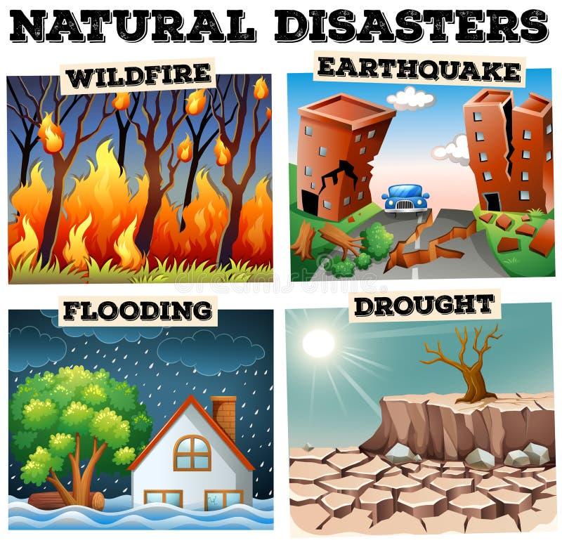 Tipo differente di disastri naturali illustrazione di stock