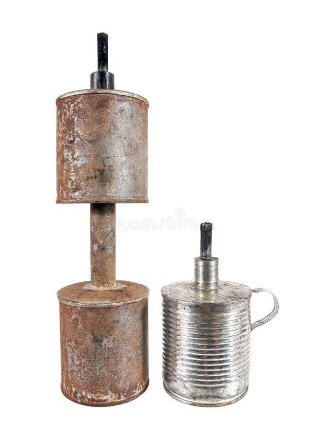 Tipo dois da lâmpada de querosene velha isolada no fundo branco L?mpada de querosene tail?ndia foto de stock royalty free