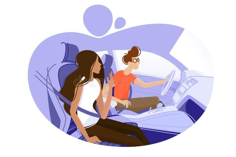 Tipo e ragazza che guidano in automobile illustrazione di stock
