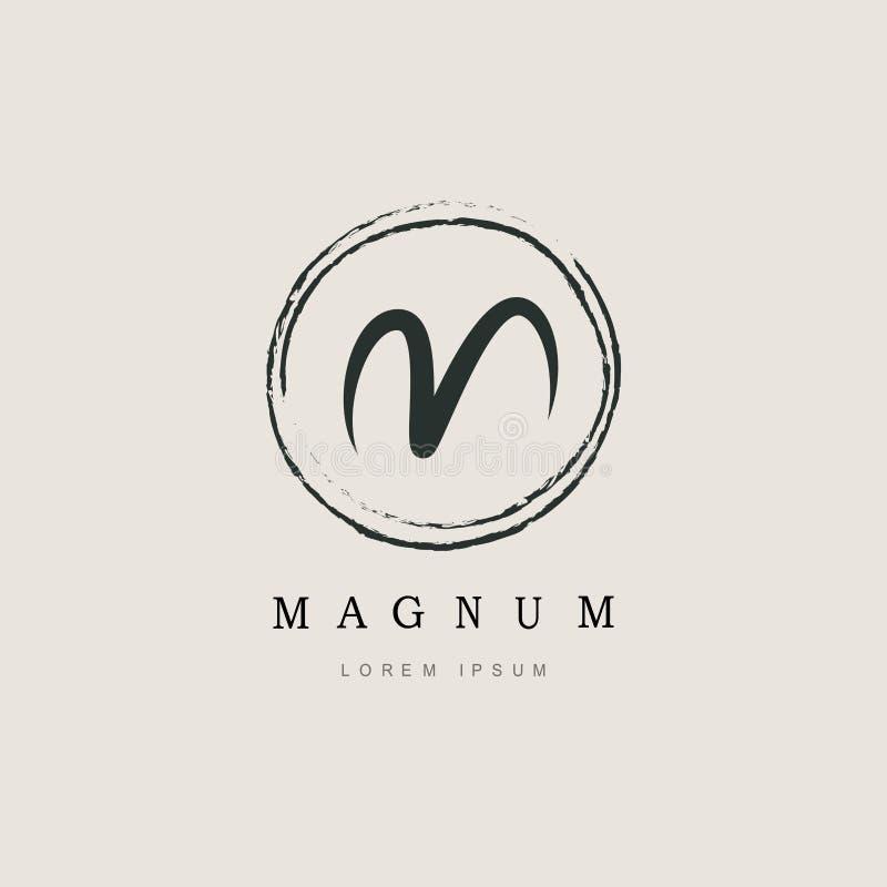 Tipo elegante semplice m. Logo della lettera iniziale illustrazione di stock