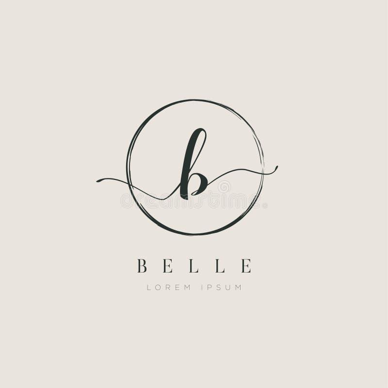 Tipo elegante simple B Logo Sign Symbol Icon de la letra inicial ilustración del vector