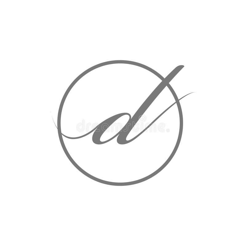 Tipo elegante simple logotipo de la letra inicial del ejemplo del vector de la belleza de d con el icono del símbolo de la muestr stock de ilustración