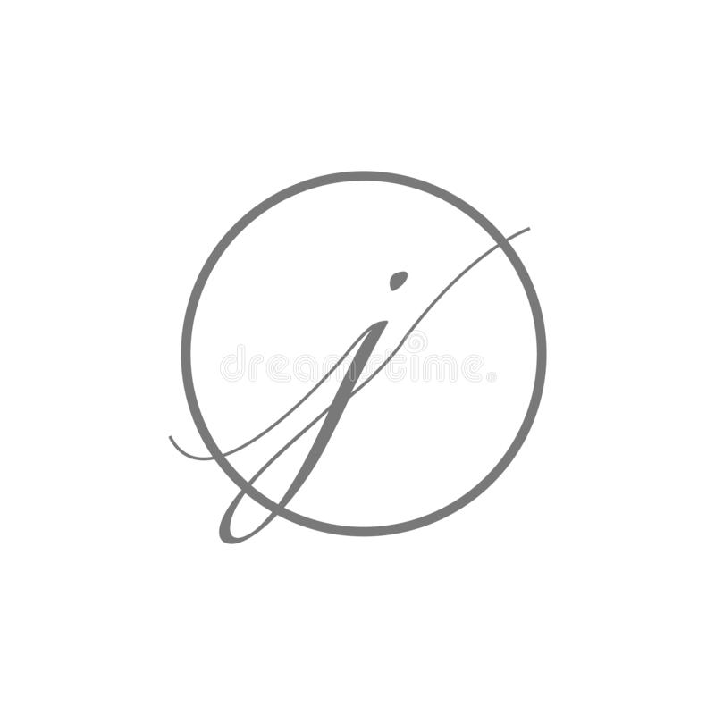 Tipo elegante simple logotipo de la letra inicial del ejemplo del vector de la belleza de j con el icono del símbolo de la muestr ilustración del vector