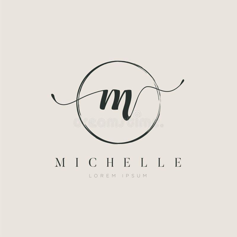 Tipo elegante simple M Logo Sign Symbol Icon de la letra inicial stock de ilustración