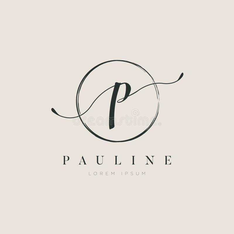 Tipo elegante simple P Logo Sign Symbol Icon de la letra inicial stock de ilustración