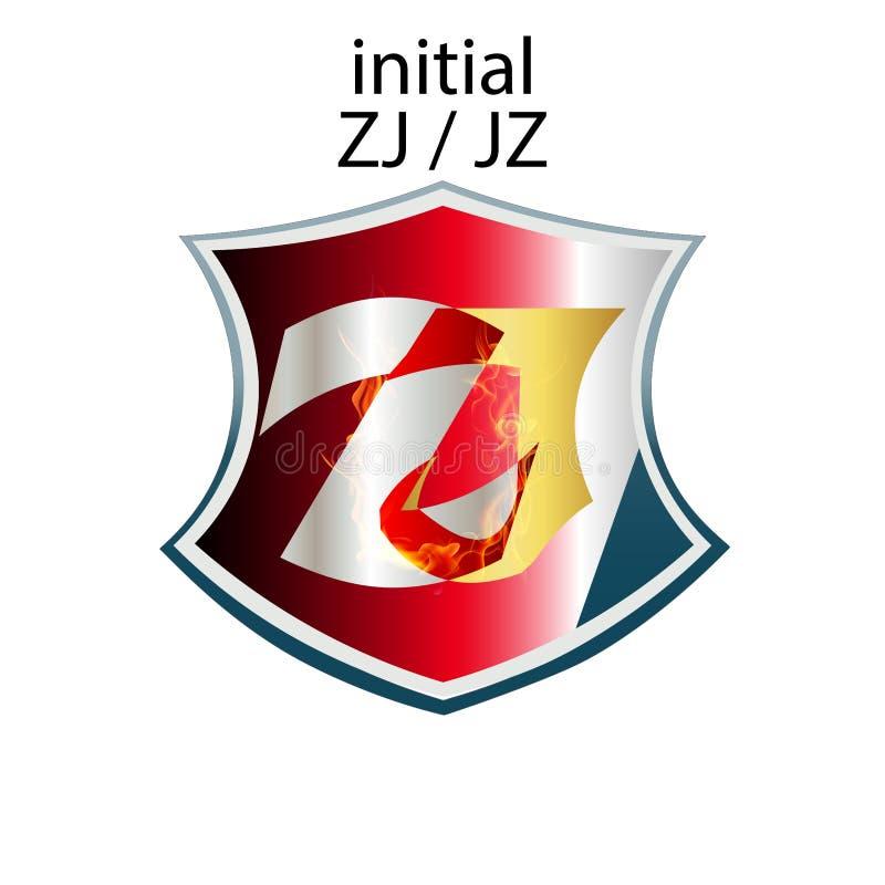 Tipo elegante simple ZJ o JZ de la letra inicial stock de ilustración