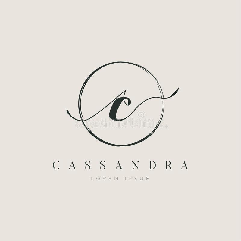 Tipo elegante simples C Logo Sign Symbol Icon da letra inicial ilustração royalty free