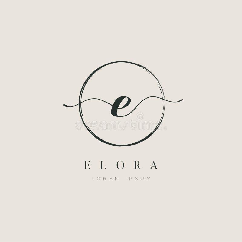 Tipo elegante simples E Logo Sign Symbol Icon da letra inicial ilustração royalty free