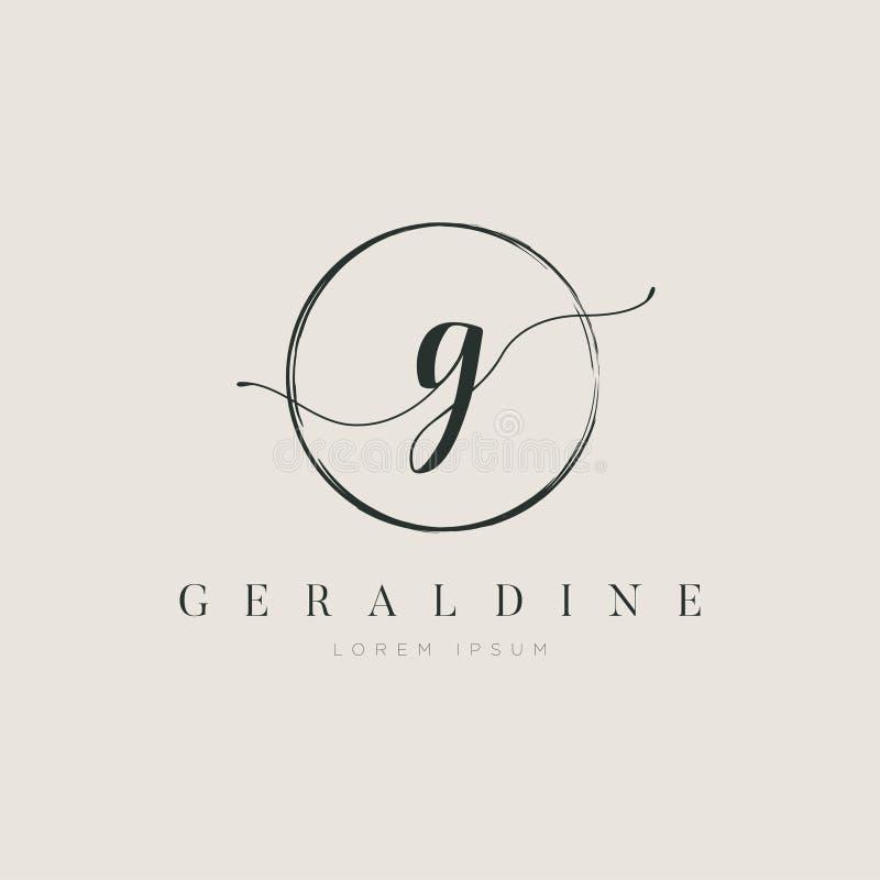 Tipo elegante simples G Logo Sign Symbol Icon da letra inicial ilustração stock
