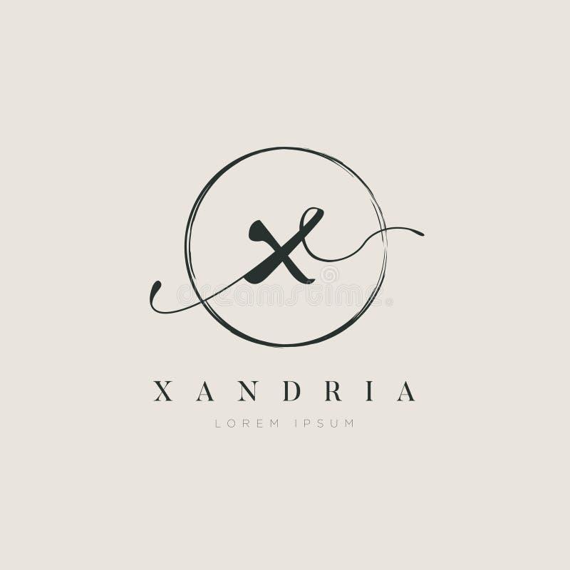 Tipo elegante simples X Logo Sign Symbol Icon da letra inicial ilustração royalty free