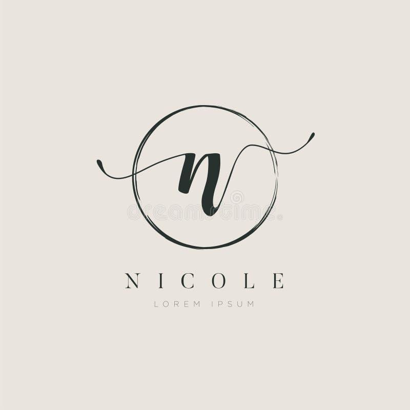 Tipo elegante simples N Logo Sign Symbol Icon da letra inicial ilustração royalty free