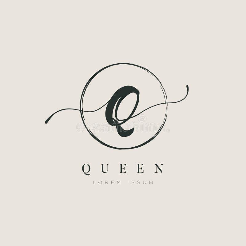 Tipo elegante simples Q Logo Sign Symbol Icon da letra inicial ilustração royalty free
