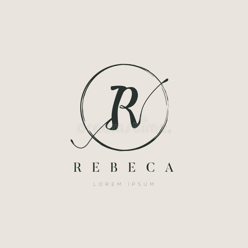 Tipo elegante simples R Logo Sign Symbol Icon da letra inicial ilustração stock