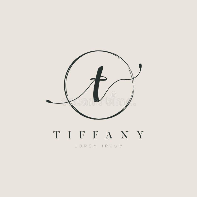 Tipo elegante simples T Logo Sign Symbol Icon da letra inicial ilustração stock