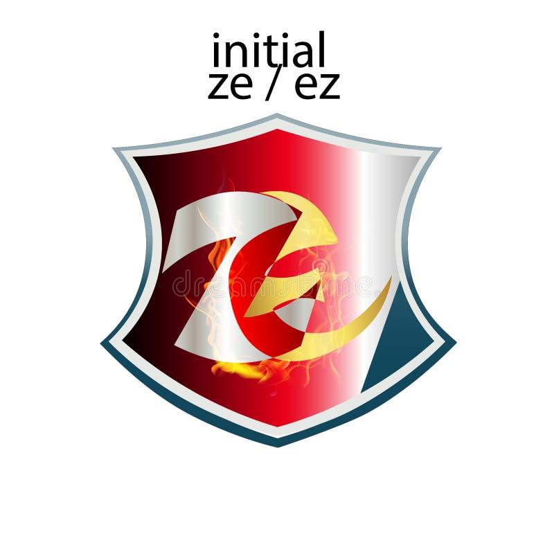 Tipo elegante simples ZE ou EZ da letra inicial ilustração royalty free