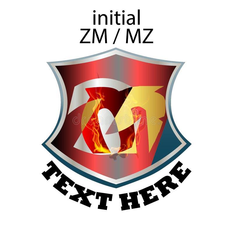 Tipo elegante simples ZM ou MZ da letra inicial ilustração stock