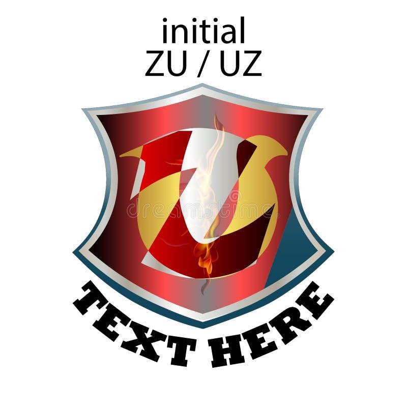 Tipo elegante simples ZU ou UZ da letra inicial ilustração royalty free