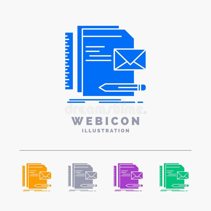 Tipo, empresa, identidade, letra, molde do ícone da Web do Glyph da cor da apresentação 5 isolado no branco Ilustra??o do vetor ilustração do vetor