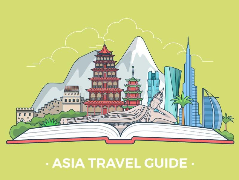 Tipo estilo plano v asiático del turismo del viaje de Asia de la bandera libre illustration