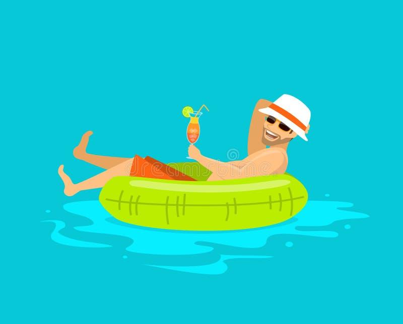 Tipo felice che galleggia in anello gonfiabile nella piscina, illustrazione di stock