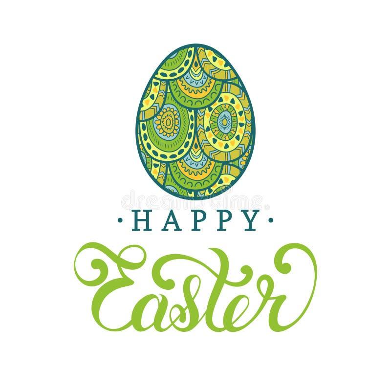 Tipo feliz tarjeta de Pascua de felicitación en la forma del huevo Ejemplo del vector del día de fiesta religioso con el modelo p ilustración del vector
