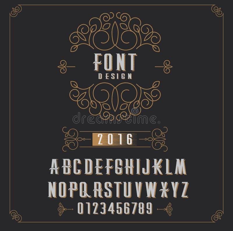 Tipo fonte retro, tipo letras, números e quadro floral com espaço da cópia para o texto ou letra - emblema para a forma, a beleza ilustração stock