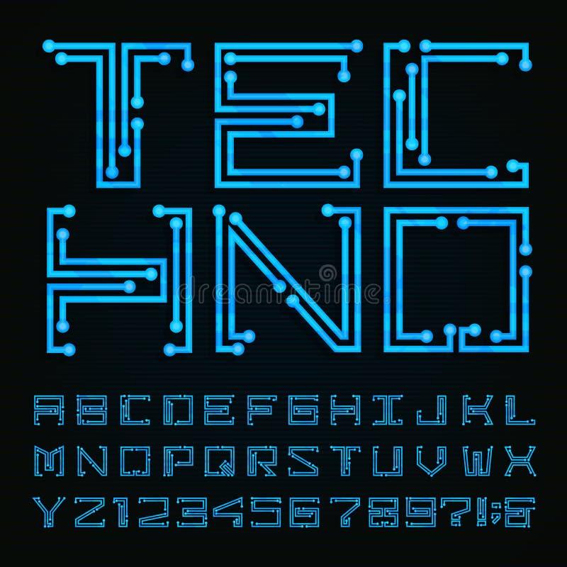 Tipo fuente de Techno Alfabeto del vector ilustración del vector
