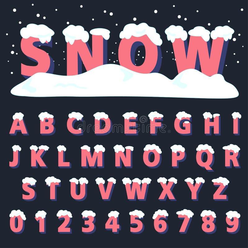 Tipo fuente retro con nieve stock de ilustración