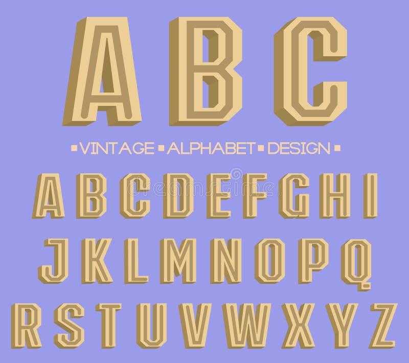 Tipo fuente retro, tipografía del vintage ilustración del vector