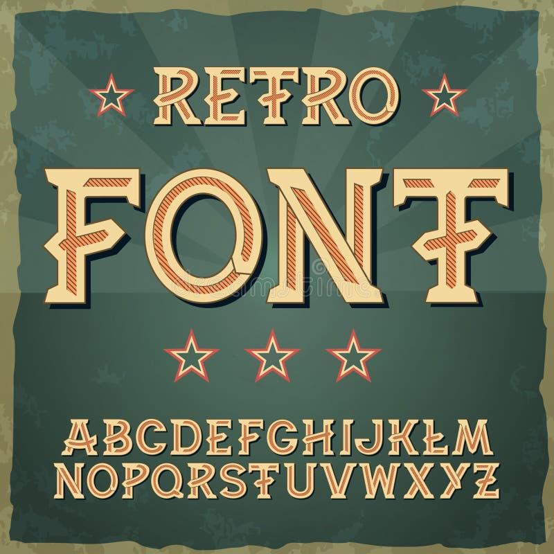 Tipo fuente retro, tipografía del vintage, Illustratiom EPS10 vector del alfabeto para las etiquetas, los títulos, los carteles e libre illustration