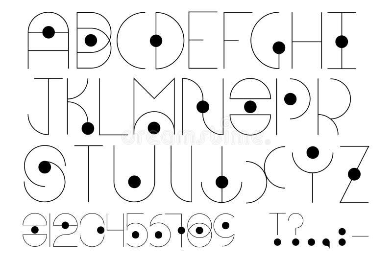 Tipo futurista Alfabeto inglês no estilo futurista ou cósmico ilustração do vetor