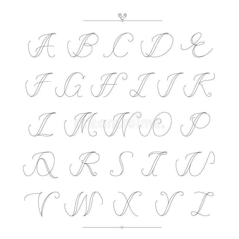 Tipo grupo filigrana do vintage da fonte do estilo caligráfico do alfabeto ilustração do vetor